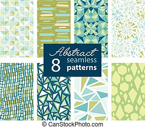 Set Of 8 Vector Abstract Shapes Green Blue Repeat Seamless...