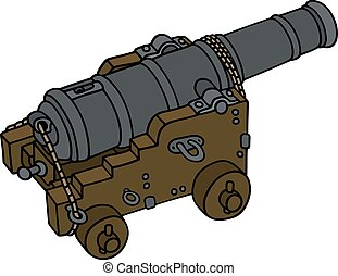 Historic naval cannon - Hand drawing of a historic naval...
