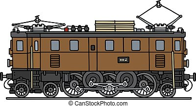 Old brown electric locomotive - Hand drawing of an old brown...