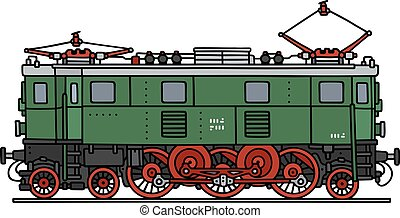 Old green electric locomotive - Hand drawing of an old green...