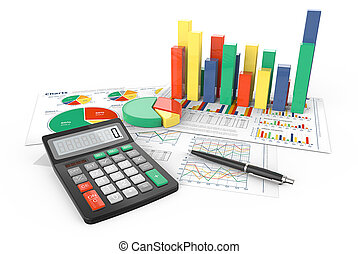 Calculate. - 3d Illustration of Financial documents with...