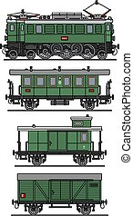Old green electric train - Hand drawing of a classic green...