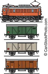 Old electric train - Hand drawing of a classic electric...