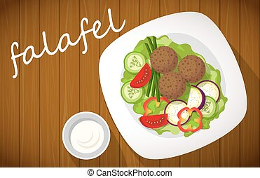 Plate of falafel on wooden table. Top view.