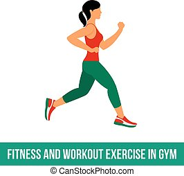 Aerobic icons. full color 01 - Fitness, Aerobic and workout...