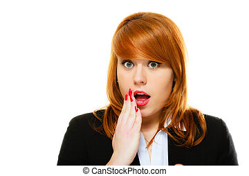 Surprised shocked woman face with open mouth - Emotional...