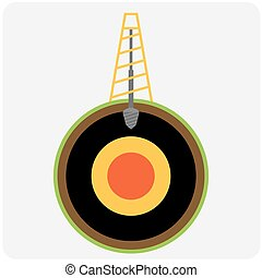 Oil mining site with drilling tower on a Earth. Flat design...