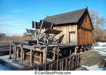 Wooden Watermill - Old wooden Slav watermill from Dobrylas,...