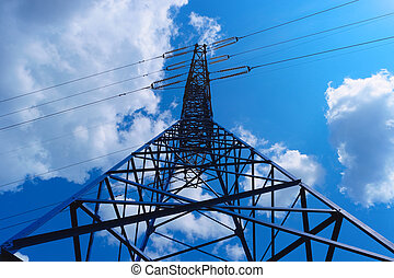 Power line tower on blue sky background