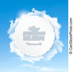 Summer background with blue sky and clouds. Vector.