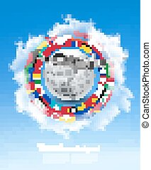 Travel background. Globe with a plane and a circle of flags and blue sky. Vector.