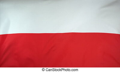 Poland Flag real fabric Close up - Textile flag of Poland...
