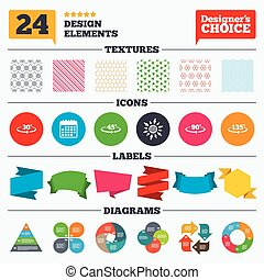 Angle degrees icons Geometry math signs - Banner tags,...