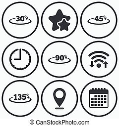 Angle degrees icons Geometry math signs - Clock, wifi and...