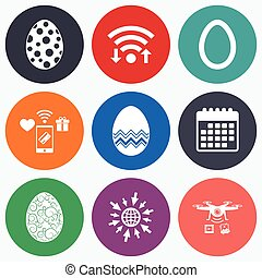 Easter eggs signs Circles and floral patterns - Wifi, mobile...