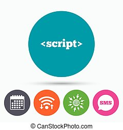 Script sign icon. Javascript code symbol. - Wifi, Sms and...