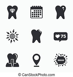 Dental care icons Caries tooth and implant - Calendar, like...