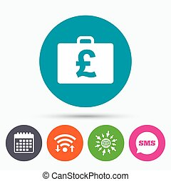Case with Pounds GBP sign. Briefcase button. - Wifi, Sms and...