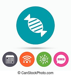 Candy icon Sweet food sign - Wifi, Sms and calendar icons...