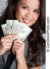 Money Woman - Smiling woman holding money