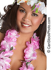 Tropical Lei Girl - Beautiful hawaiian tropical lei girl
