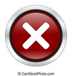 cancel icon, red round button isolated on white background,...