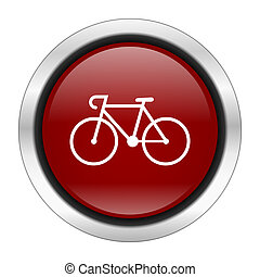bicycle icon, red round button isolated on white background,...