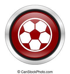 futbol, icono, rojo, redondo, botón, aislado, en,...