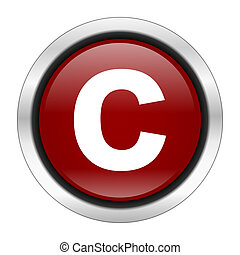 copyright icon, red round button isolated on white...