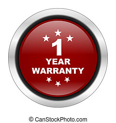 warranty guarantee 1 year icon, red round button isolated on...