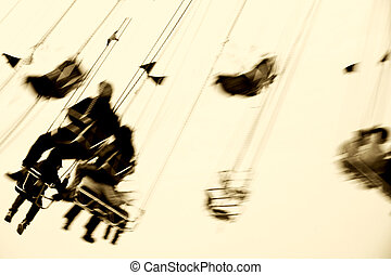 Chairoplane abstract - The abstract silhouettes of sitting...