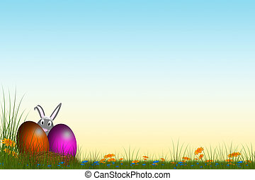 easter bunys - easter card with bunnys and colored easter...