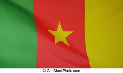 Cameroon Flag real fabric close up - Textile flag of...