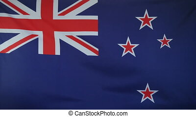 New Zealand Flag real fabric close - Textile flag of New...