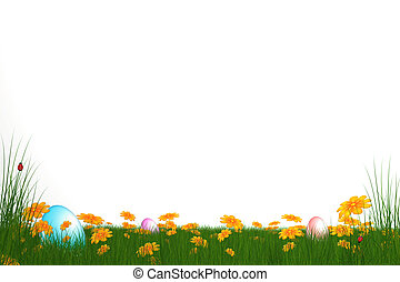easter card - easter eggs on grass field with white...