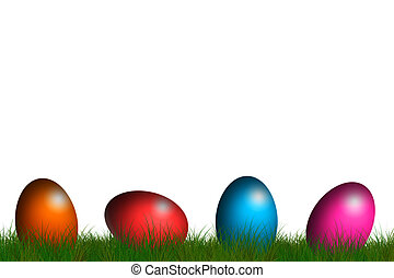 easter card - easter eggs on a line in grass field
