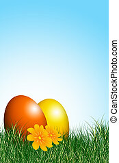 easter card - easter eggs illustration with grass field and...