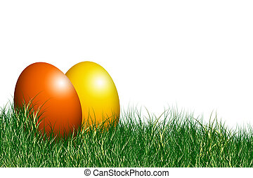 easter eggs - two colored easter eggs on grass field with...
