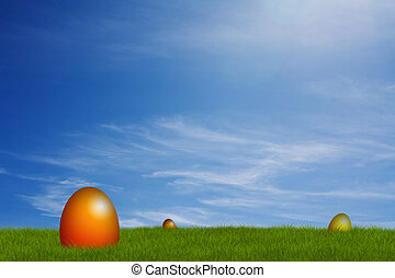 easter card - easter illustration with colored wggs on grass...