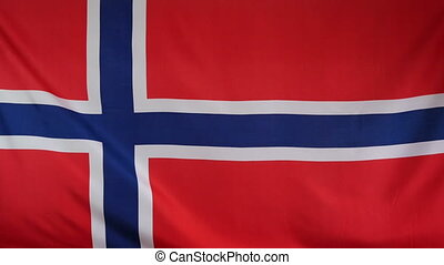 Norway Flag real fabric close up - Textile flag of Norway...