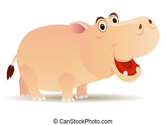 Hippo cartoon - vector hippo cartoon