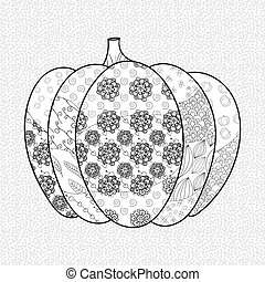 Pumkin adult coloring book page Whimsical line art vector...