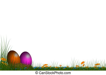 easter card - festive card with eggs with white background...