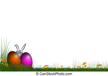 easter card - festive card with eggs and a bunny in back...