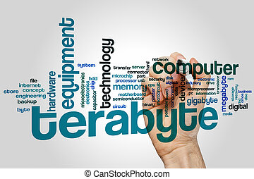 Terabyte word cloud concept with memory electronic related...