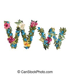 Beautiful floral alphabet with flowers - W letter Flower...