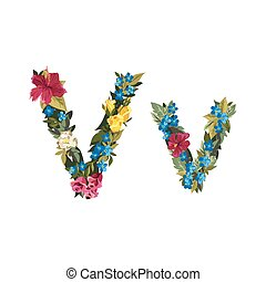Beautiful floral alphabet with flowers. - V letter. Flower...