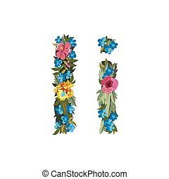 Beautiful floral alphabet with flowers - I letter Flower...