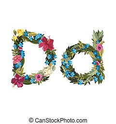 Beautiful floral alphabet with flowers. - D letter. Flower...