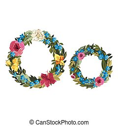 Beautiful floral alphabet with flowers - O letter Flower...